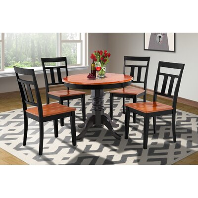 Cedarville 5 Piece Solid Wood Dining Set Finish: Black/Cherry