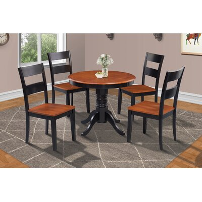 Cedarville 5 Piece Carved Wood Dining Set Finish: Black/Cherry