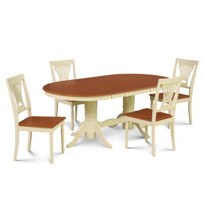 Inwood 5 Piece Carved Dining Set Finish: Buttermilk/Cherry