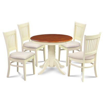 Cedarville Elegant 5 Piece Dining Set Finish: Buttermilk/Cherry