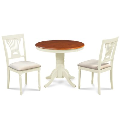 Cedarville Contemporary 3 Piece Dining Set Finish: Buttermilk/Cherry