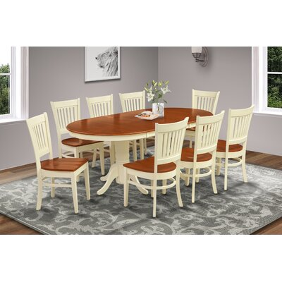 Lunde Traditional 9 Piece Dining Set Finish: Buttermilk/Cherry