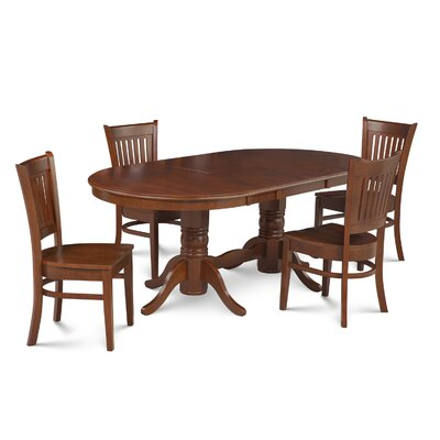 Lunde 5 Piece Solid Rubber Wood Dining Set Finish: Espresso