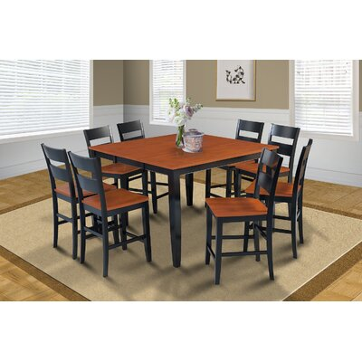 Charlestown 9 Piece Wood Counter Height Dining Set Finish: Black
