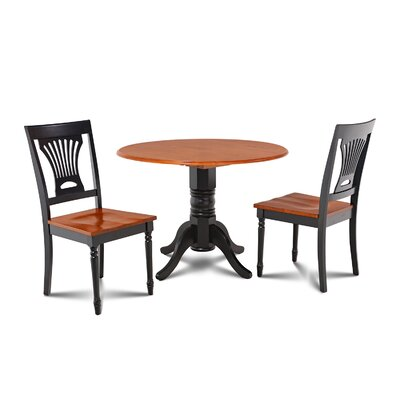 Chesterton Transitional 3 Piece Dining Set Finish: Black/Cherry
