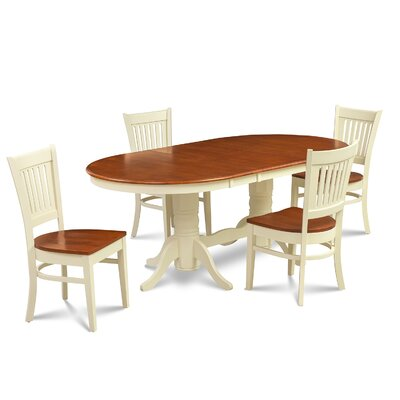 Inwood 5 Piece Solid Rubber Wood Dining Set Finish: Buttermilk/Cherry