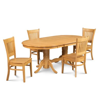 Lunde 5 Piece Solid Rubber Wood Dining Set Finish: Oak