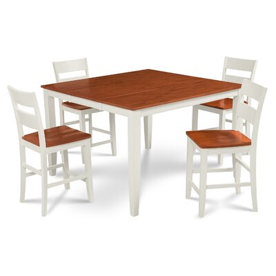 Charlestown 5 Piece Wood Counter Height Dining Set Finish: White