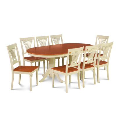 Inwood 9 Piece Rubber Wood Dining Set Finish: Buttermilk/Cherry
