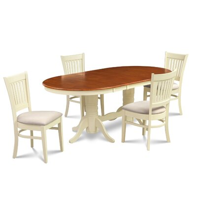 Lunde Traditional 5 Piece Dining Set Finish: Buttermilk/Cherry