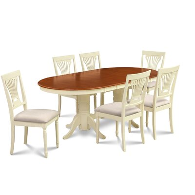 Lunde 7 Piece Rubber Wood Dining Set Finish: Buttermilk/Cherry