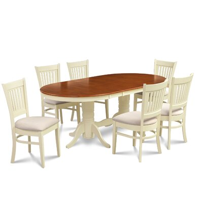Lunde 7 Piece Dining Set Finish: Buttermilk/Cherry