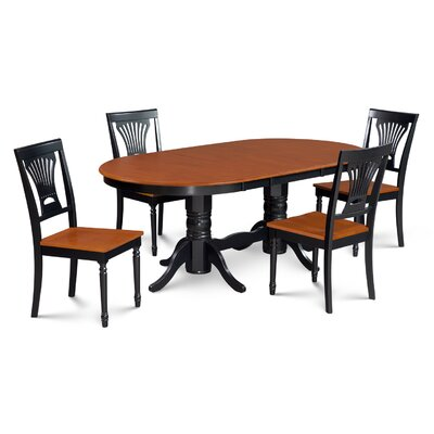 Inwood 5 Piece Carved Dining Set Finish: Black/Cherry