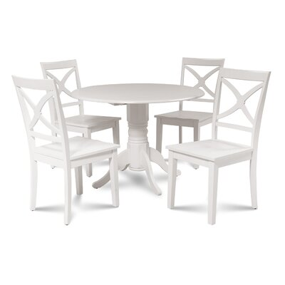 Chesterton 5 Piece Drop Leaf Dining Set Color: White