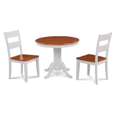 Cedarville Elegant 3 Piece Wood Dining Set Finish: White/Cherry