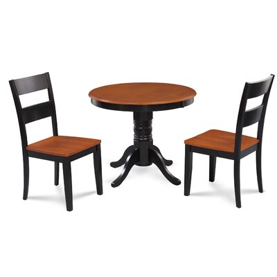Cedarville Elegant 3 Piece Wood Dining Set Finish: Black/Cherry