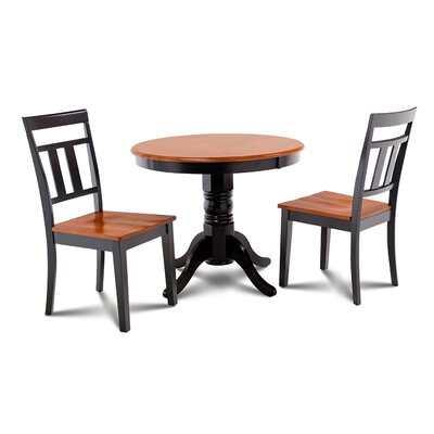 Cedarville 3 Piece Carved Wood Dining Set Finish: Black/Cherry