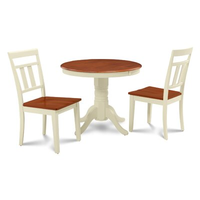 Cedarville 3 Piece Carved Wood Dining Set Finish: Buttermilk/Cherry