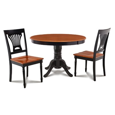 Cedarville Contemporary 3 Piece Wood Dining Set Finish: Black/Cherry