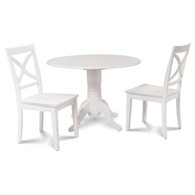 Chesterton 3 Piece Drop Leaf Dining Set Color: White