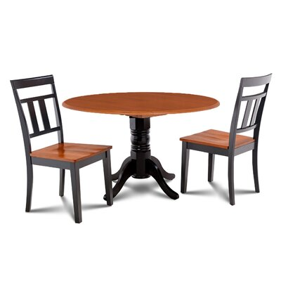 Chesterton Transitional 3 Piece Wood Dining Set Finish: Black/Cherry