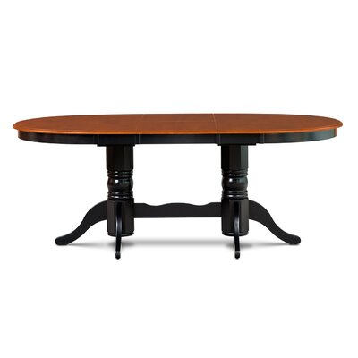 Inwood Oval-Shaped Extendable Dining Table Finish: Black/Cherry