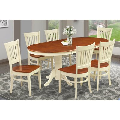 Inwood Oval-Shaped Extendable Dining Table Finish: Buttermilk/Cherry