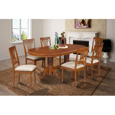 Lunde 7 Piece Rubber Wood Dining Set Finish: Saddle Brown