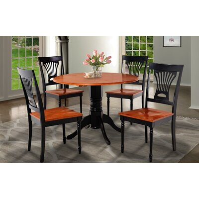 Chesterton Round Drop Leaf Dining Table Finish: Black/Cherry