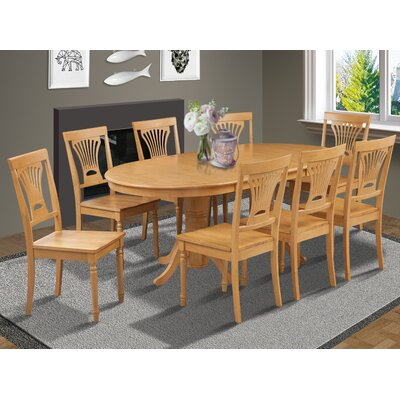 Inwood 9 Piece Rubber Wood Dining Set Finish: Oak