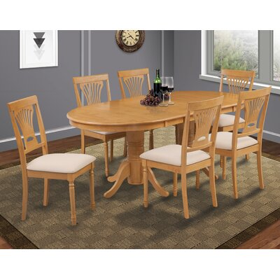 Lunde 7 Piece Rubber Wood Dining Set Finish: Oak