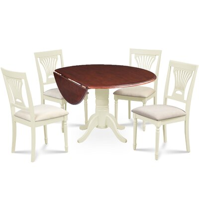 Newry Round Dining Table Base Color/Top Color: Buttermilk/Mahogany
