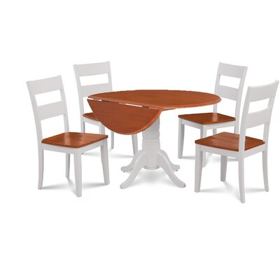 Newry Round Dining Table Base Color/Top Color: White/Cherry