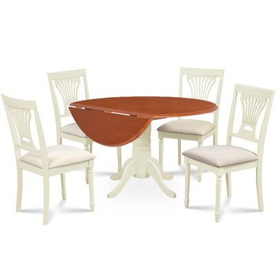 Forthill 5 Piece Round Dining Set Finish: Buttermilk/Cherry