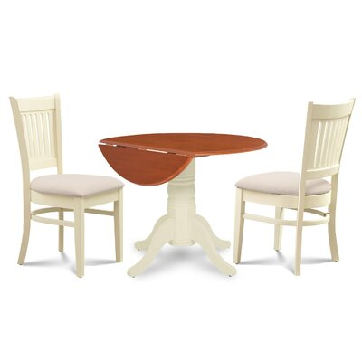 Thornhill Round Carved 3 Piece Dining Set Finish: Buttermilk Cherry/Off-White
