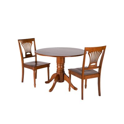 Chesterton Transitional 3 Piece Dining Set Finish: Saddle Brown