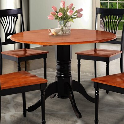 Chesterton Drop Leaf Dining Table Base Color: Black, Top Color: Black