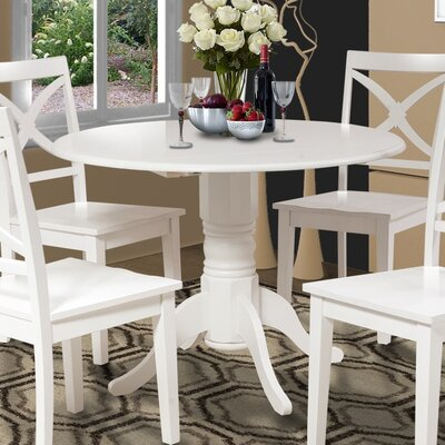 Chesterton Drop Leaf Dining Table Color: White/White, Color: White/Mahogany
