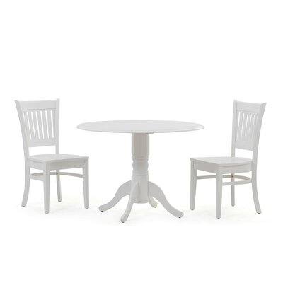 Thornhill 3 Piece Drop Leaf Dining Set Color: White