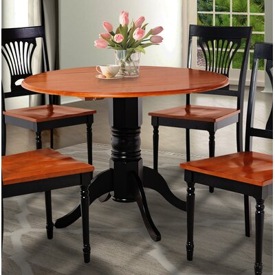Chesterton Drop Leaf Dining Table Color: Black/Cherry