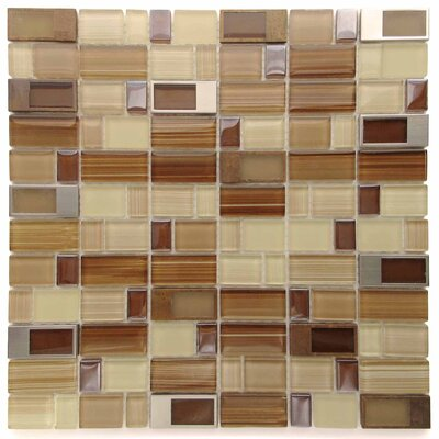 Clasp Rock Glass Mosaic Tile in Brown/Yellow