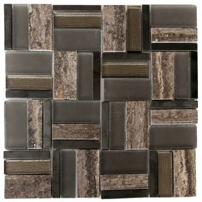 Onyx Glass/Stone/Metal Mosaic Tile in Dark Brown