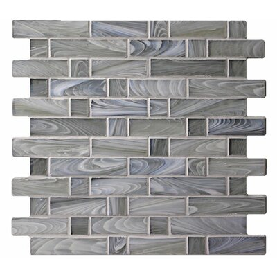 Antartic Petrich Random Sized Glass Mosaic Tile in Gray