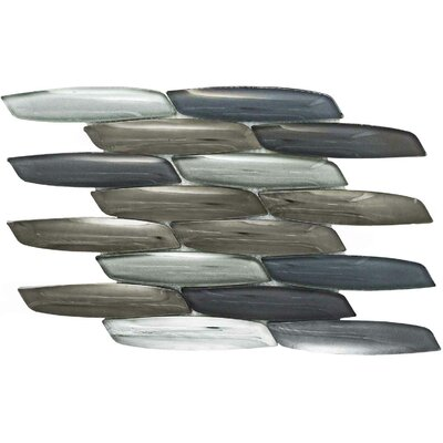 Scales Marlin Random Sized Glass Mosaic Tile in Gray