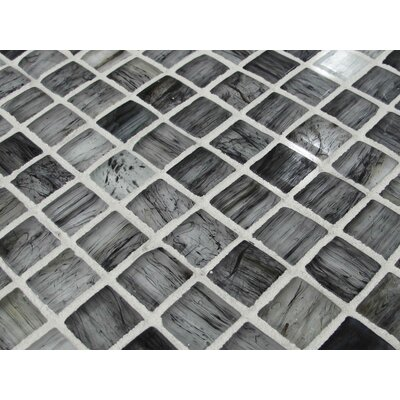 Onyx 1 x 1 Glass Mosaic Tile in Black/Gray