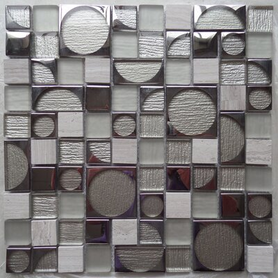Bombshell Colbalt Random Sized Glass Mosaic Tile in White/Gray