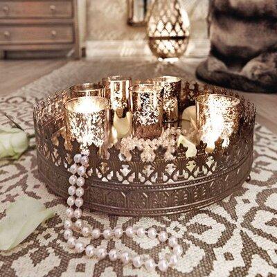 9-tlg. Teelichttablett-Set aus Glas / Metall   Dekoration > Kerzen und Kerzenständer > Teelichter   Silver   Glänzend - Metall   miaVILLA