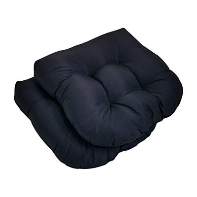Square Solid Seat Outdoor Dining Chair Cushion Fabric: Black