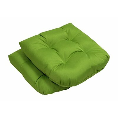 Square Solid Seat Outdoor Dining Chair Cushion Fabric: Green