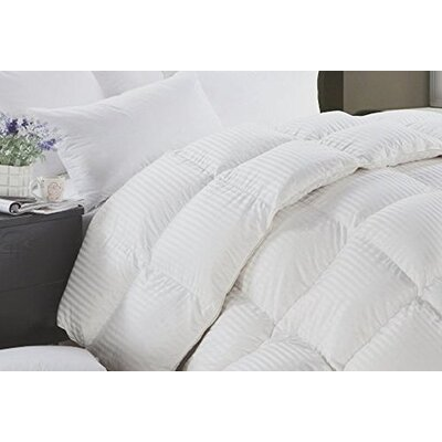 Striped And Solid Oversized Reversible Midweight Down Alternative Comforter Size: Queen